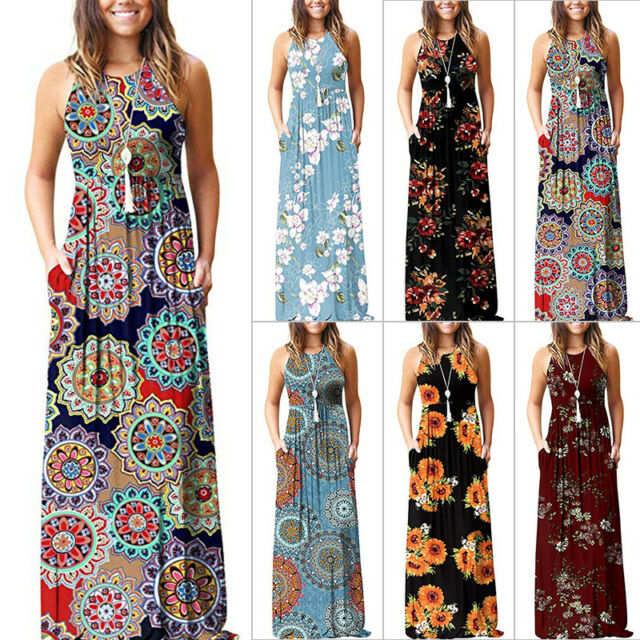 Women Long Sleeve Loose Maxi Dresses Summer Beach Party Sun Dress Boho Floral Print Casual Long Dress Kaftan with Pockets