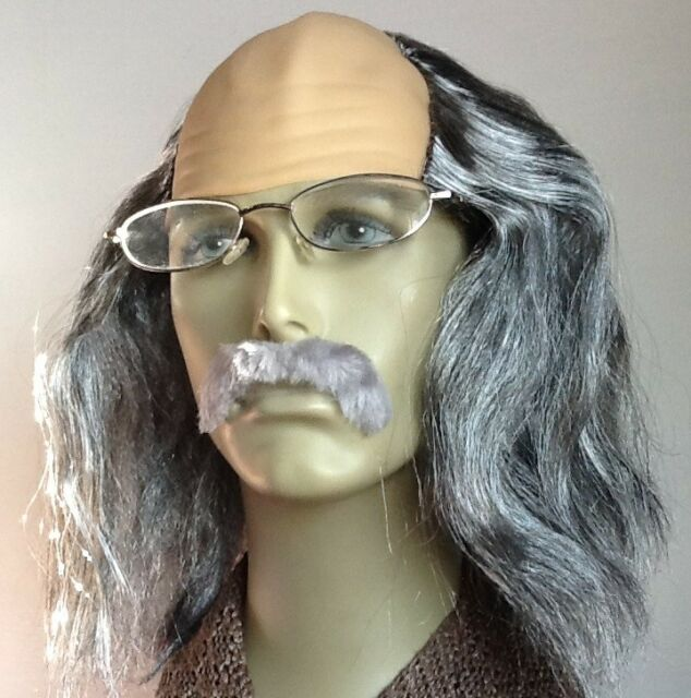 MAD PROFESSOR GREY BALDY FANCY DRESS WIG & GREY DROOP MOUSTACHE. UK DISP