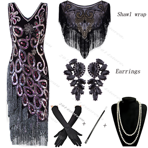 Size-6-18-Flapper-1920s-Dress-Vintage-Gatsby-Sequin-Beaded-Fringe-Tassel-Costume