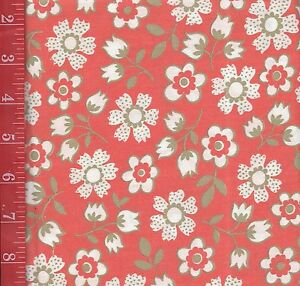 "True Vintage ORANGE Retro deco floral Cotton FABRIC 36""W By 1/2 Yard doll clothe"