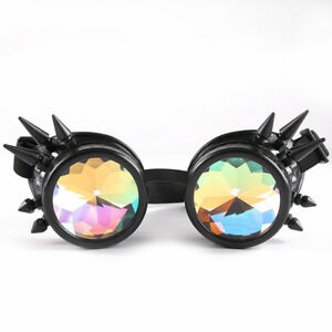 ef16ef8101ff Details about Kaleidoscope Steampunk Glasses Goggles Rainbow Crystal Glass  Lens Spike Cosplay