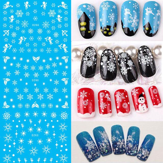 11pcs Christmas Nail Art Stickers Snowflakescute Snowmen Decal