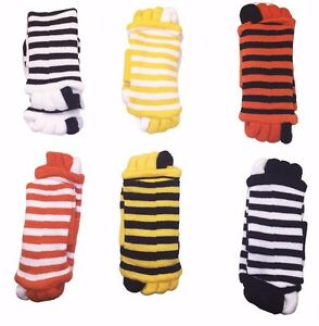 Alignment-Socks-Toe-Separator-Foot-Toes-Pain-Relief-Stripes-Soft-Spa-Pedicure