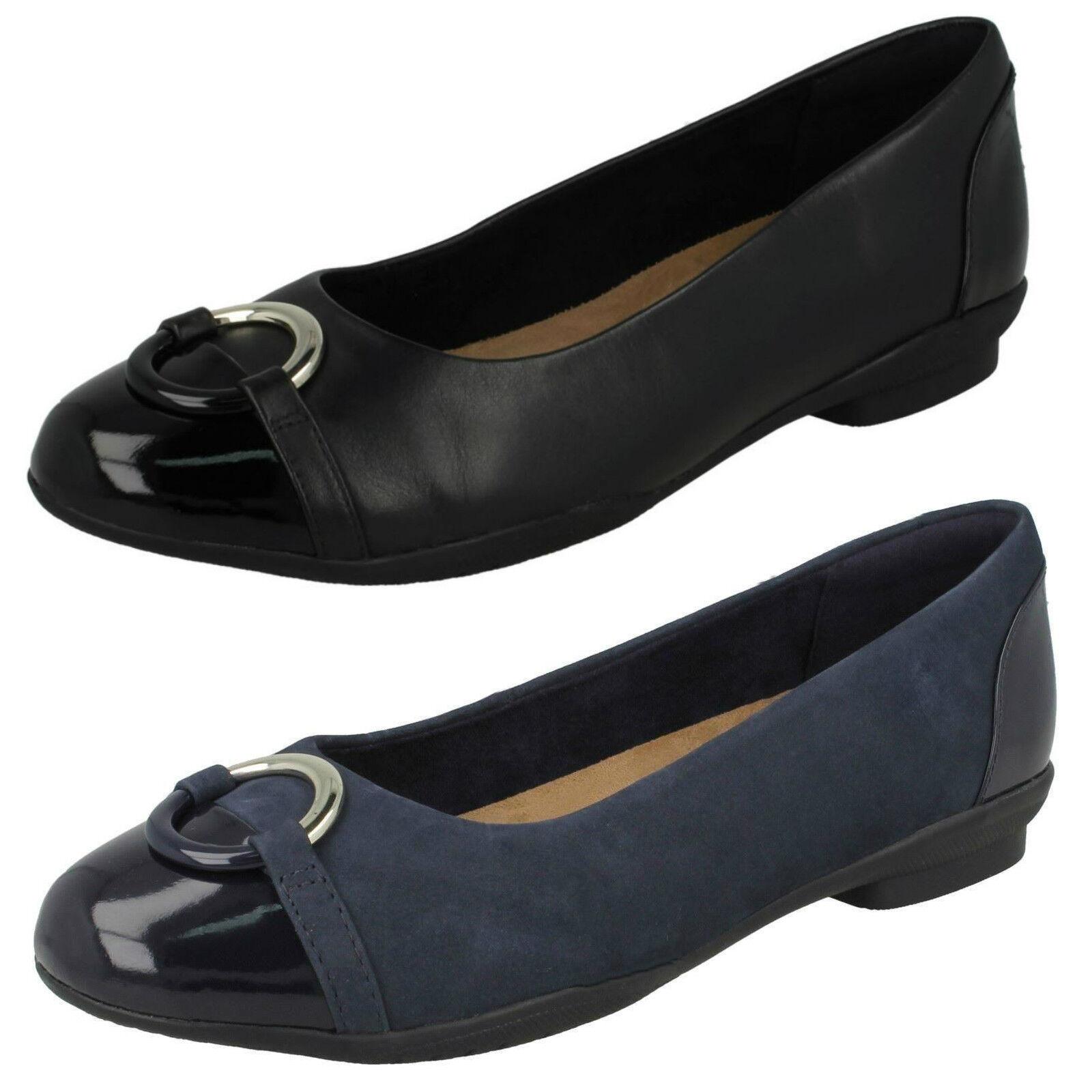 Damen Leder Clarks Neenah Rebe schwarz oder Marinebalu Leder Damen flache Pumps E passend 7a8daa