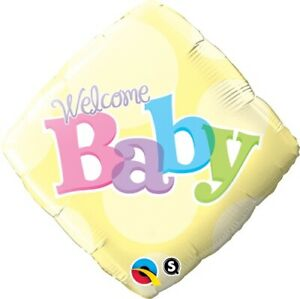 Welcome-Baby-Yellow-Dots-45cm-Foil-BALLOON-QUALATEX-FOIL-BALLOON