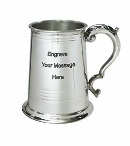 NEW-Personalised-1-Pint-Worcester-Polished-Pewter-Tankard-Any-Message-Engraved