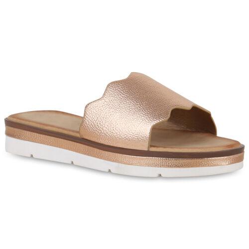 Damen Sandaletten Pantoletten Plateau Sandalen Metallic Schlappen 830233 Schuhe