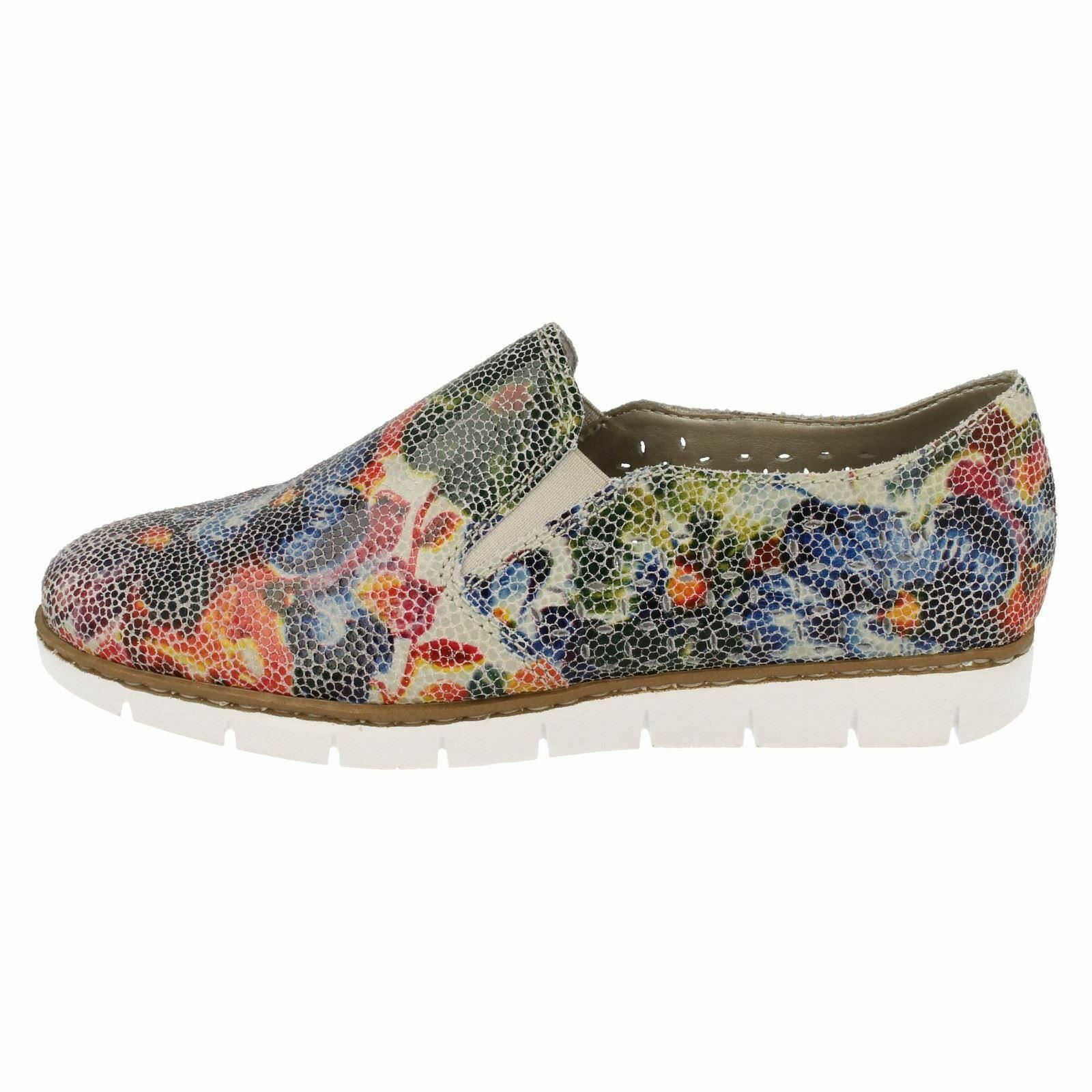 Ladies Rieker M1356 M1356 M1356 Multi-Colour Pattern Leather Casual Slip On shoes 249bee