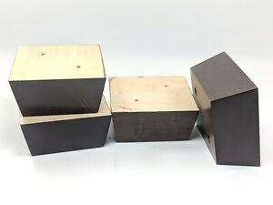 4-Furniture-Legs-Feet-Tapered-Brown-Mahogany-Finish-4-25-034-x-4-5-034-2-034-Tall-ps3004