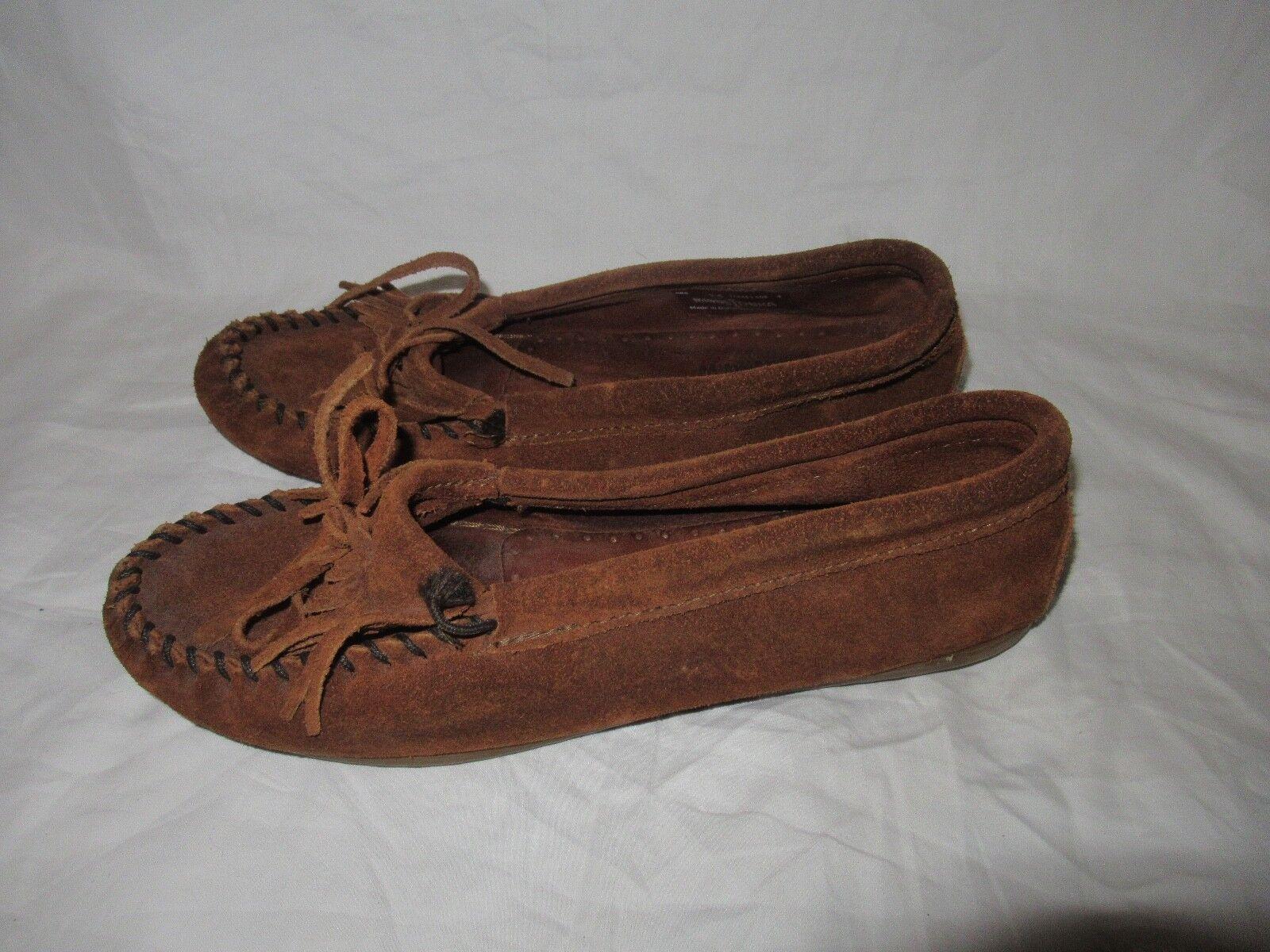 Minnetonka 402 Size 7.5 Women's Kilty Hardsole Hard Sole Moccasin BROWN SUEDE