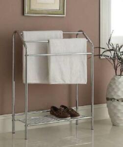 Bathroom Towel Rack Stand Shelf Chrome Storage Floor ...