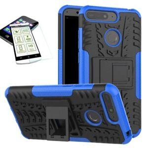 Fuer-Huawei-Y7-2018-Hybrid-Case-Tasche-Outdoor-2teilig-Blau-H9-Glas-Huelle-Cover