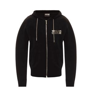 Versace Jeans Couture Cotton Zip Up Black Hoodie