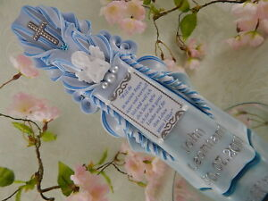 Taufkerze Junge Spruch Engel hellblau