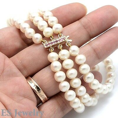 ES GORGEOUS IVORY WHITE CULTURED PEARL 14K NATURAL RUBY TRIPLE STRAND BRACELET