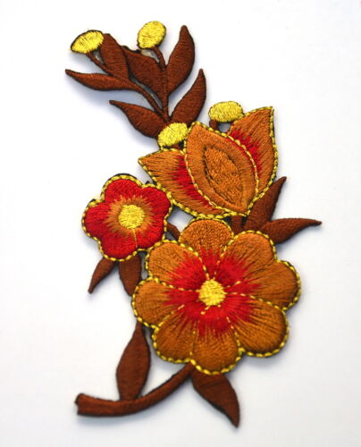 FLOWERS LIGHT BROWN RED  Embroidered Iron Sew On Cloth Patch Badge  APPLIQUE