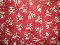 Cotton Fabric- Paper Doll Christmas Pattern-cute Mini Teddy Bears All Over Red
