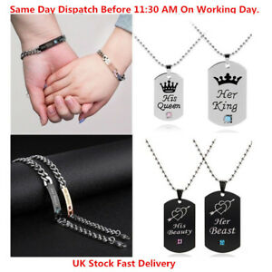 His Beauty And Her Beast Stainless Steel Matching Bracelet Necklace