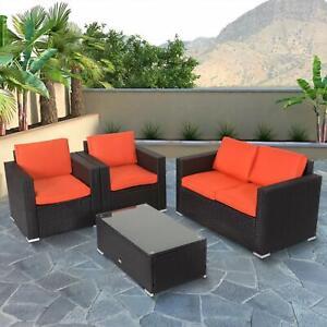 4-PCS-Rattan-Patio-Outdoor-Furniture-Set-Garden-Lawn-Sofa-Sectional-Set-Orange
