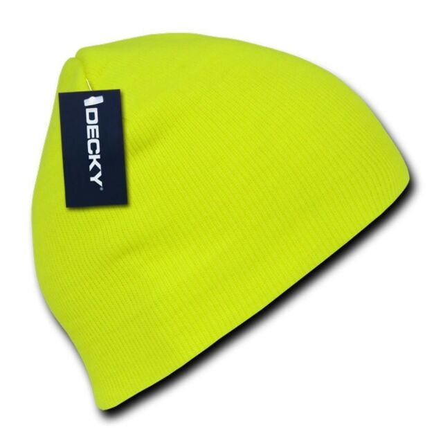 c08309f9771 Neon Yellow Knit Short Beanie Hat Skull Snowboard Winter Warm Ski Hats  Beanies