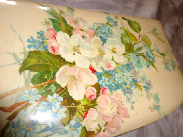 ANTIQUE VICTORIAN CHERRY APPLE BLOSSOM VIOLETS CELLULOID DRESSER JEWEL BOX