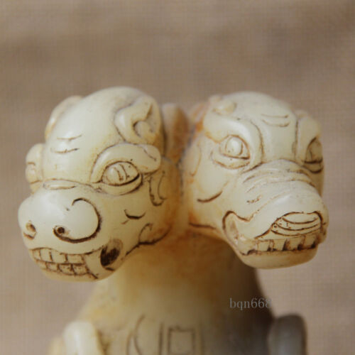 """8/"""" Old White Jade Hand carved double head Brave Troops Pixiu Beast Statue"""