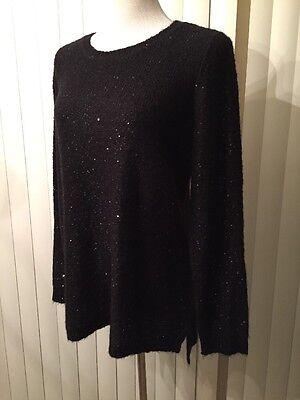 NEW CALVIN KLEIN Black Women Sequin Pullover Sweater Top Sz M $99.50
