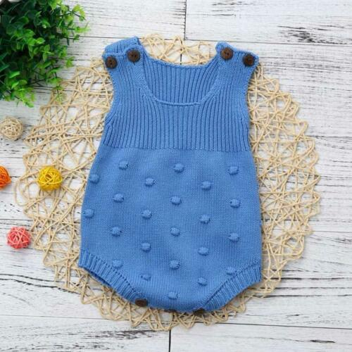 Baby Girls Knitted Halter Bodysuit Toddler Strap Jumpsuit Clothes Romper Outfits