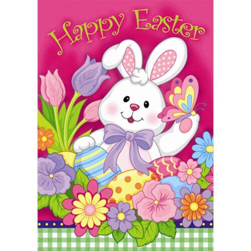 Easter Bunny and Eggs Garden Flag House Decor Yard Banner Linen Double-sided