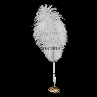 Quill Feather Plume Roller Ball Pen Holder Set Wedding Guests Signature Gift