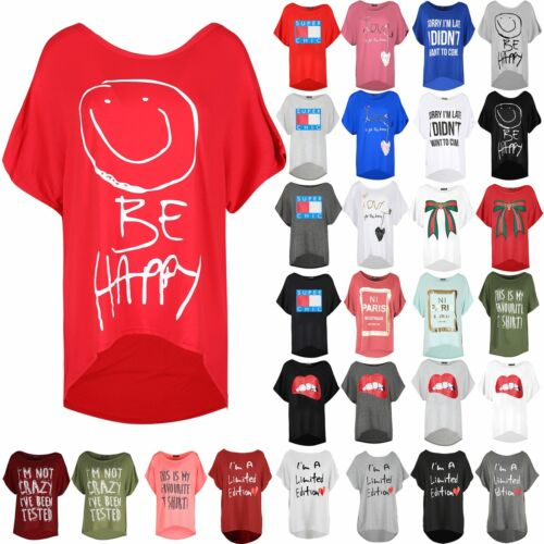 Womens Ladies SMILEY BE HAPPY T Shirt Baggy Oversized Direct Batwing Sleeve Top