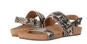 Vionic Orthaheel PERK CARMEL Block-Heel Leather Sandals BLACK Size 9.5 M NIB
