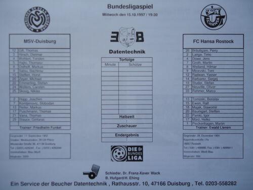 Hansa Rostock Medien Info 1997//98 MSV Duisburg