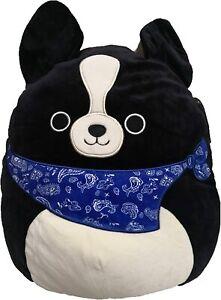 "Squishmallow Kellytoy 8"" Tommy The Black Dog with Blue Bandana Plush Toy"