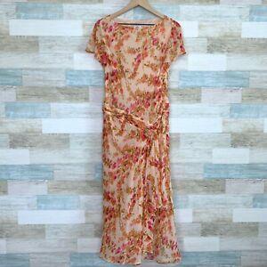 Suzi-Chin-Maggy-Boutique-Pure-Silk-Midi-Dress-Pink-Floral-Chiffon-Womens-12