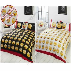 EMOJI-ICONS-SINGLE-AND-DOUBLE-DUVET-COVER-SETS-SMILEY-FACES-NEW-BLACK-FREE-P-P