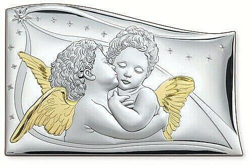 QUADRO SACRO VELA ANGELI IL Bacio Cm.45x30 Lastra in ARGENTO 925/% e ORO 1702//45D