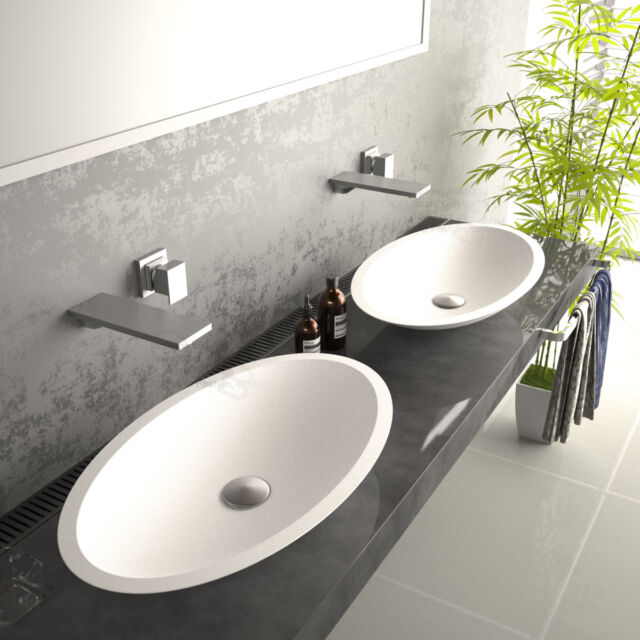 595*345*105 Oval slim HAND WASH BASIN Vanity sink COUNTER TOP SOLID SURFACE