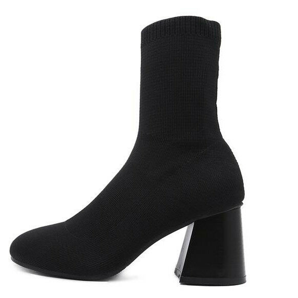 Bottines bottes talon carré noir doux tissu 7.5 cm comme cuir 1372