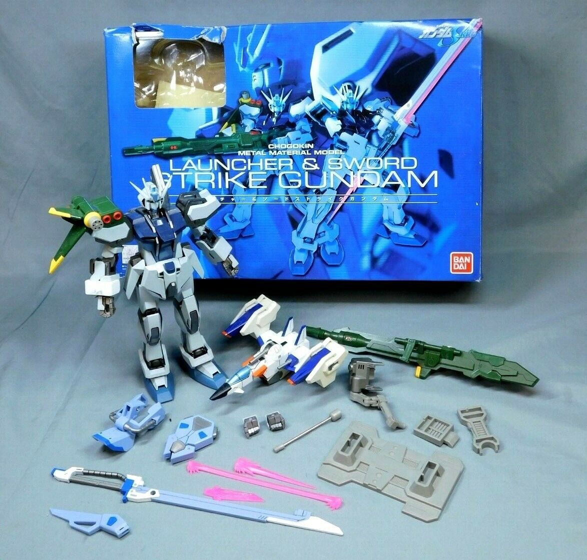 GUNDAM SEED CHOGOKIN METAL MATERIAL MODEL STRIKE GUNDAM LAUNCHER & SWORD W BOX
