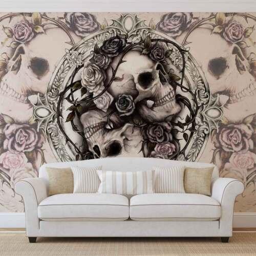 WALL MURAL PHOTO WALLPAPER XXL Skull Alchemy Roses 977WS