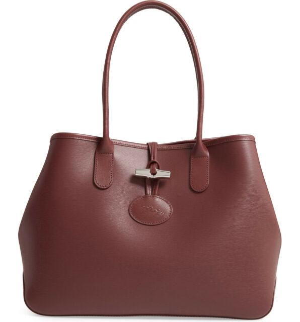 Longchamp ROSEAU Shoulder Leather Tote Brandy