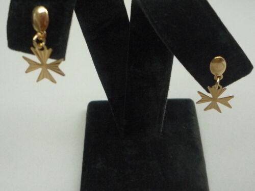 Neu Gelbgold Malteserkreuz Ohrring mit Diamant Schliff Ohrstecker Tropfen