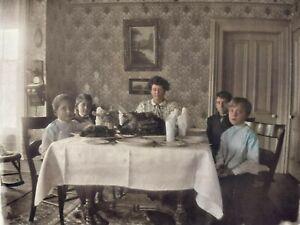 Thanksgiving-Turkey-Dinner-Antique-Fiddleback-Wall-Phone-Photo-Glass-Negative