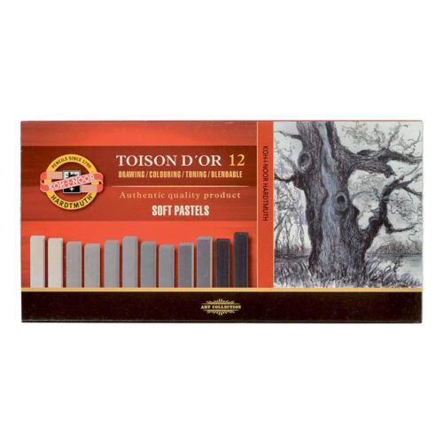Koh-i-noor Toison D /'or Tiza Pastel Suave 8592 conjuntos en Marrón y Gris-Paquete de 12