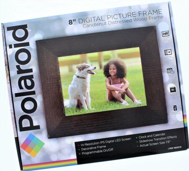 "Polaroid 8"" Digital Picture Frame Wood Frame"