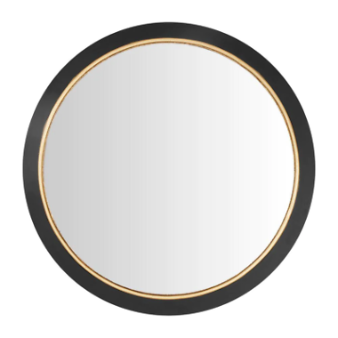 StyleWell Medium Round Black & Gold Convex Classic Accent Mirror