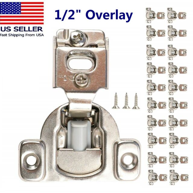 Satin Nickel 25 Pairs //50 Pack 1//2 OVERLAY SOFT CLOSE Face Frame Cabinet Hinge