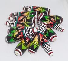 Rare VTG 12 Colorful SW Green Aztec Sunset Indian Tribal Teardrop Wood Beads Art