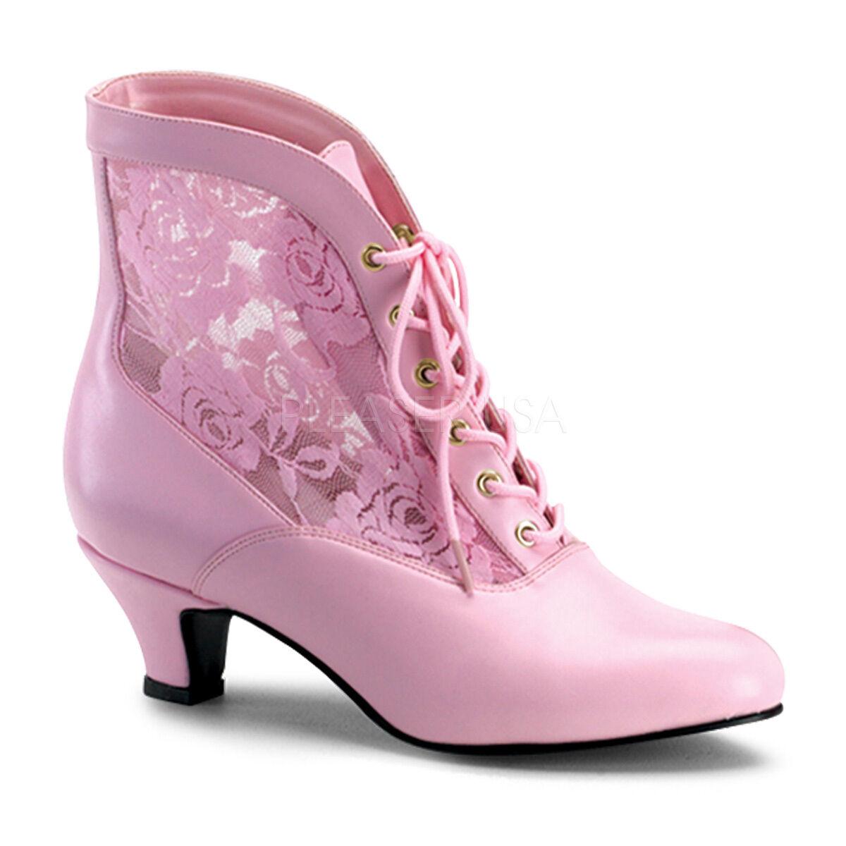 Viktorianische Stiefeletten Dame-05 pink weiß schwarz gold mit Spitze Gr 36-43
